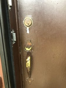 Old setup of lock and handle