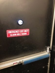 Detex Push Bar On Commercial Door W/ High security lock - Inside look