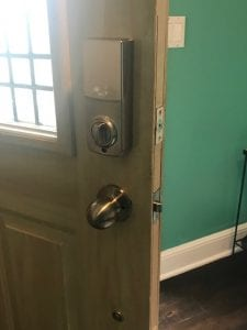 Keypad Lock Installed W/ Lever Handle. Inside Look of New Locks