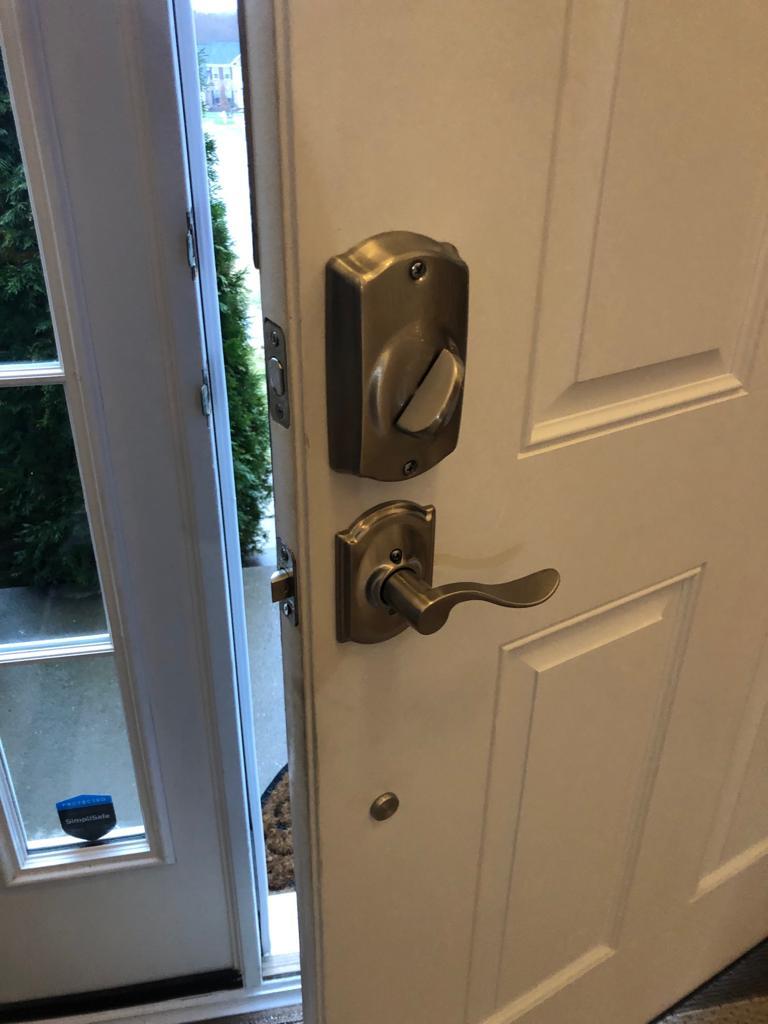 Schlage key pad installed back side
